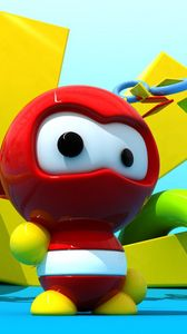 Preview wallpaper game, robot, bright, red
