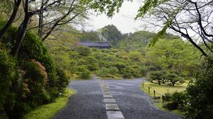 Preview wallpaper garden, paths, bushes, trees, greenery