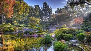 Preview wallpaper garden, pond, vegetation, light, colors, landscape