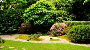 Preview wallpaper garden, stones, registration, lawn