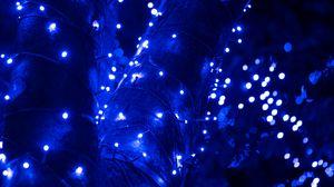 Preview wallpaper garland, glare, bokeh, blue, shine