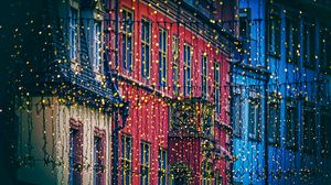 Preview wallpaper garland, houses, decoration, festive, city, christmas, new year