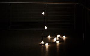 Preview wallpaper garland, light bulbs, lights, light, dark