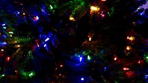 Preview wallpaper garland, tree, christmas, new year, decoration, colorful