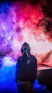 Preview wallpaper gas mask, man, smoke, colorful