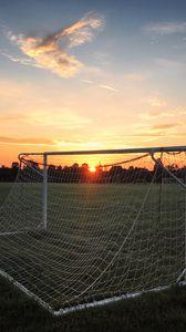 Preview wallpaper gate, net, field, sunset, football, sport