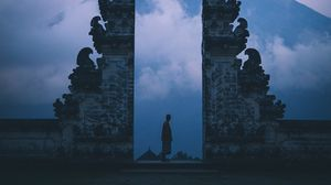 Preview wallpaper gate, silhouette, loneliness, fog, bali, indonesia