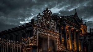 Preview wallpaper gate, sky, overcast, night