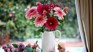 Preview wallpaper gerbera, gypsophila, roses, flowers, pitcher, basket, candle decoration