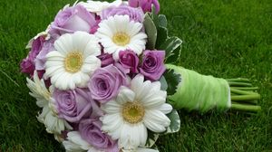 Preview wallpaper gerbera, roses, bouquet, decoration