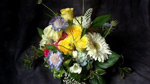 Preview wallpaper gerbera, roses, flowers, bouquets, composition, design