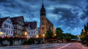 Preview wallpaper germany, area, building, home, church, flowers, hdr