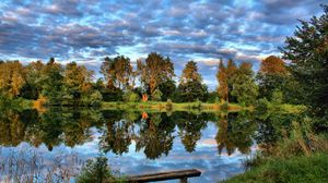 Preview wallpaper germany, lake, sky, grass, trees