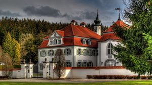Preview wallpaper germany, leutkirch, city, building, house, fence, forest