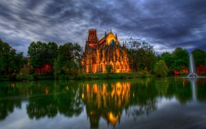 Preview wallpaper germany, park, cathedral, fountain, church, pond, trees