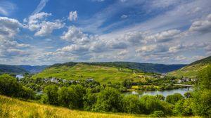 Preview wallpaper germany, sinsheim, river, sky