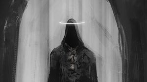 Preview wallpaper ghost, cloak, halo, arch, art, black and white, scary