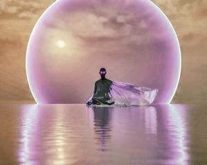 Preview wallpaper ghost, meditation, water, sphere