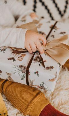 240x400 Wallpaper gift, box, bow, hand, child