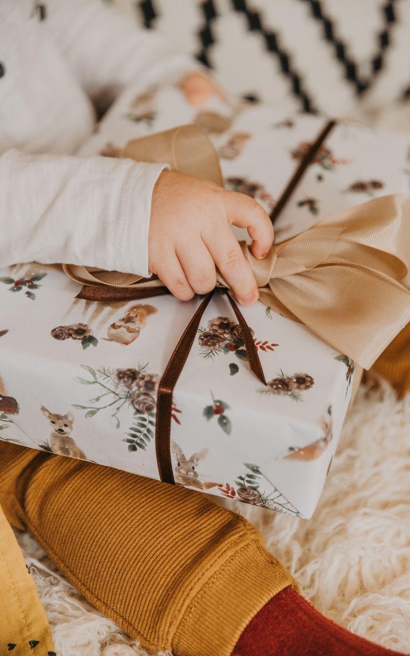 800x1280 Wallpaper gift, box, bow, hand, child