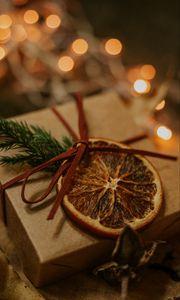 Preview wallpaper gift, box, bow, branch, orange, slice