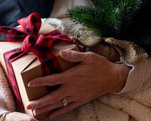 Preview wallpaper gift, box, bow, branch, new year, christmas