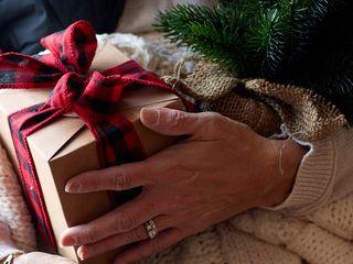 320x240 Wallpaper gift, box, bow, branch, new year, christmas