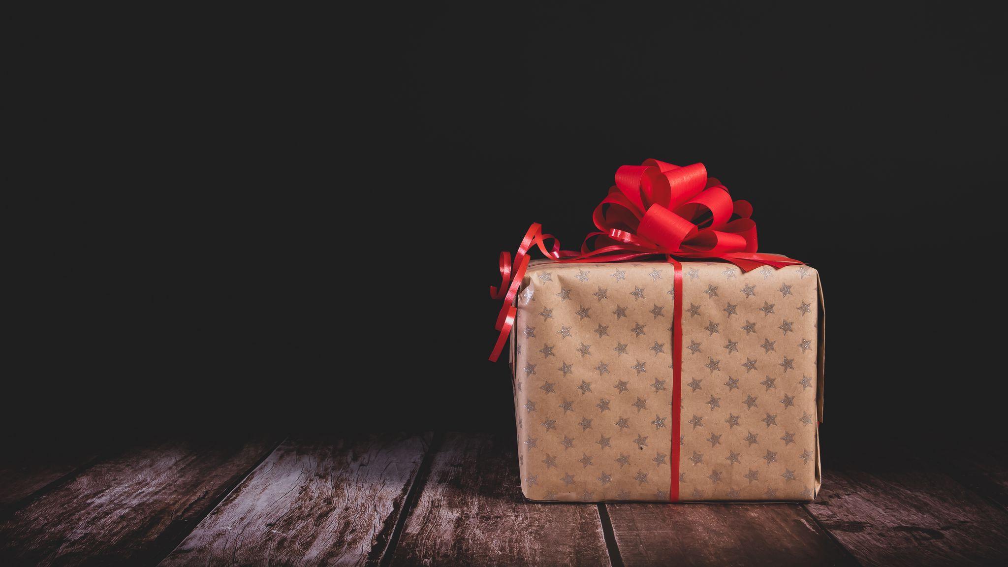 2048x1152 Wallpaper gift, box, bow, holiday