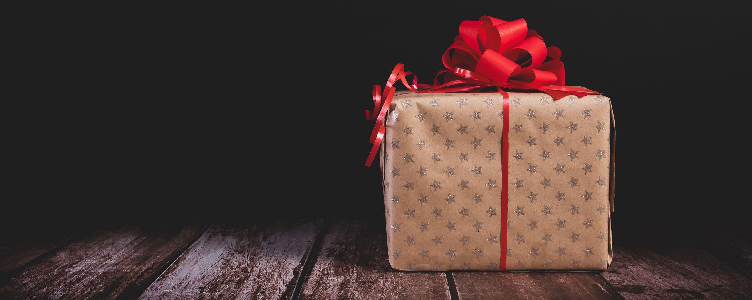 2560x1024 Wallpaper gift, box, bow, holiday