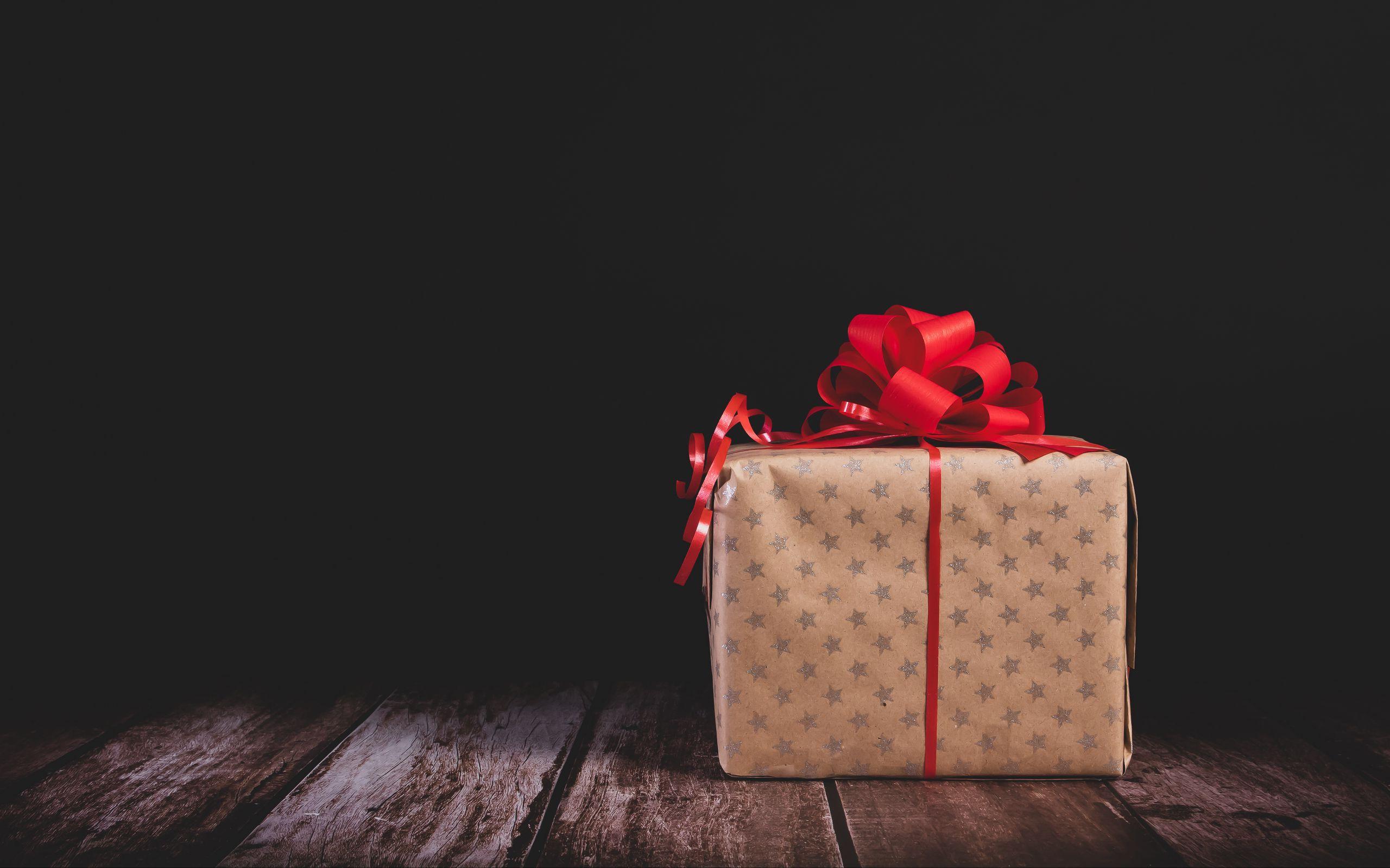 2560x1600 Wallpaper gift, box, bow, holiday