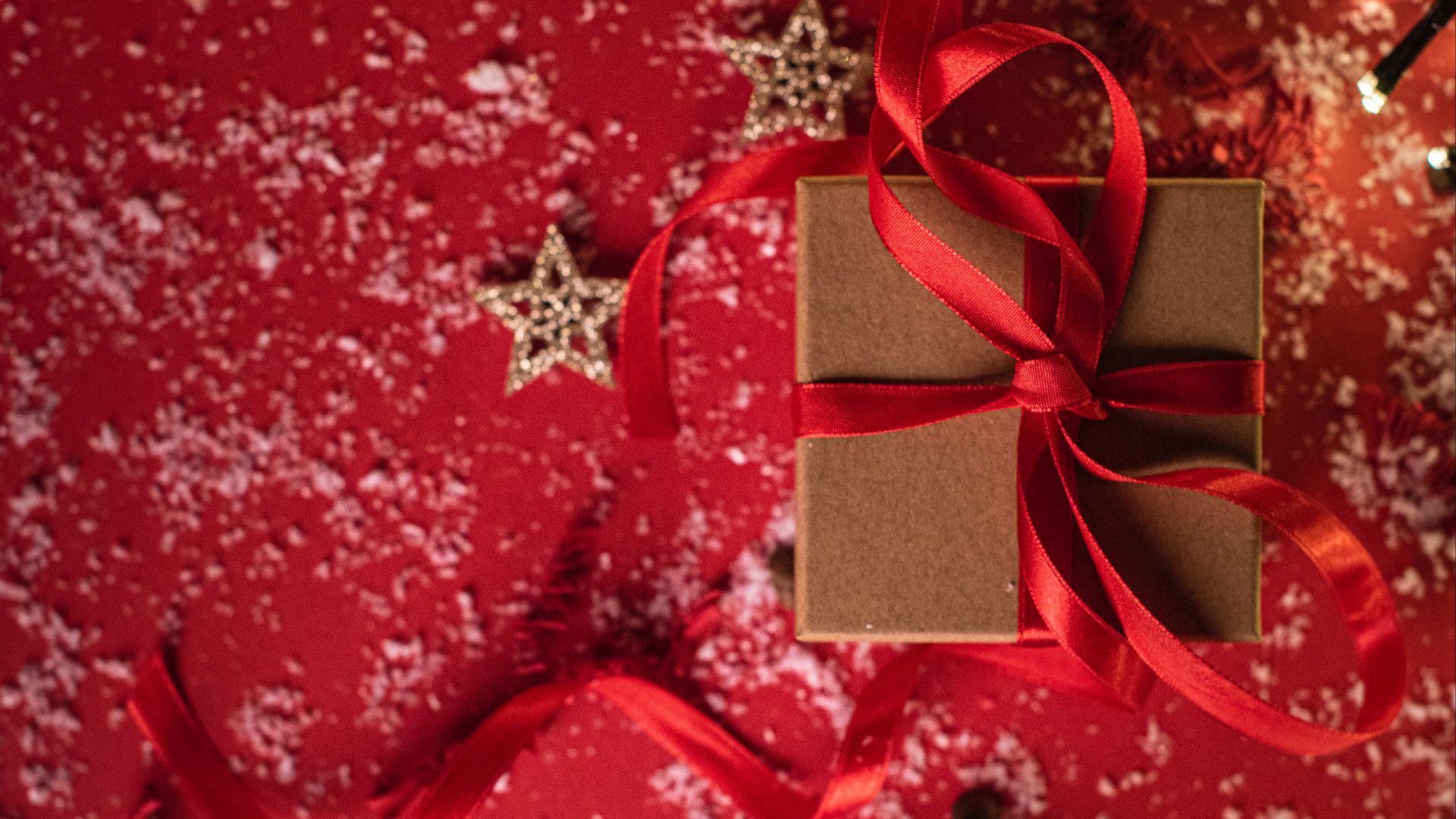 1920x1080 Wallpaper gift, box, ribbon, stars, snow, holiday