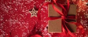 Preview wallpaper gift, box, ribbon, stars, snow, holiday