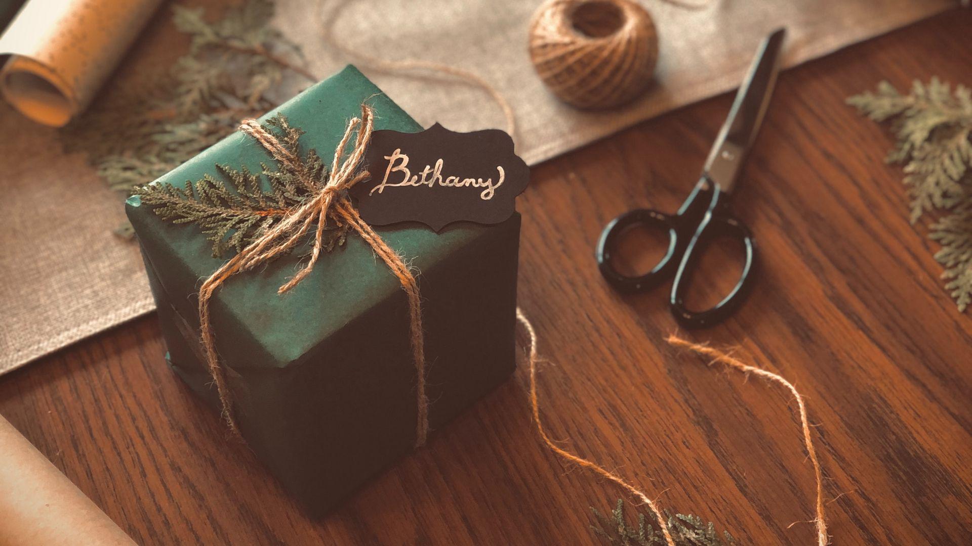 1920x1080 Wallpaper gift, box, scissors, threads, branches