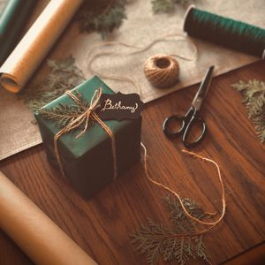 Preview wallpaper gift, box, scissors, threads, branches