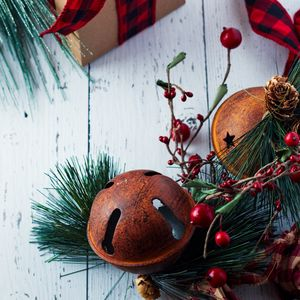 Preview wallpaper gift, branches, decorations, new year, christmas