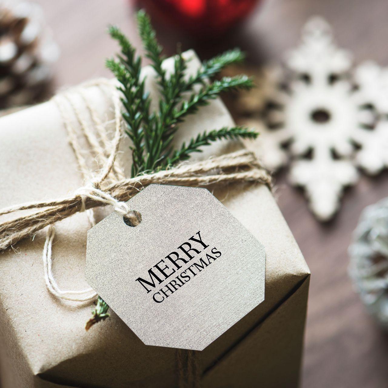 1280x1280 Wallpaper gift, christmas, new year, tag, box