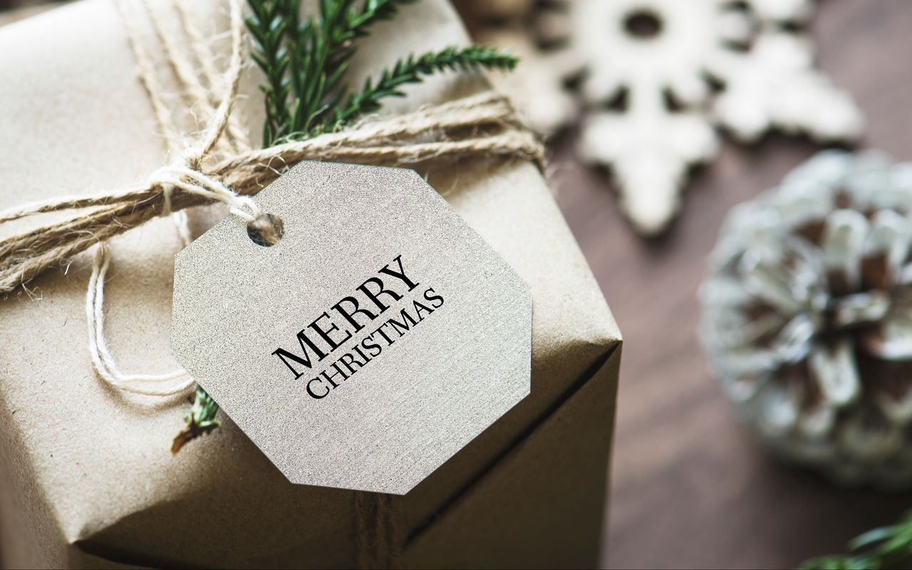 1280x800 Wallpaper gift, christmas, new year, tag, box
