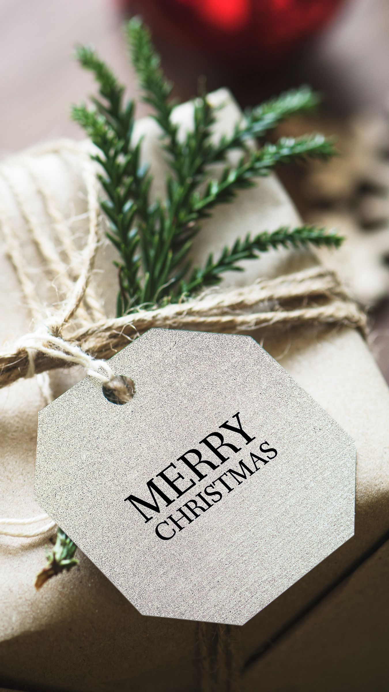1350x2400 Wallpaper gift, christmas, new year, tag, box