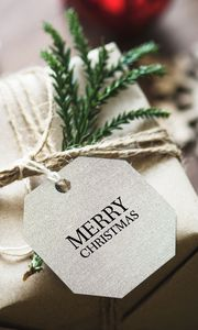Preview wallpaper gift, christmas, new year, tag, box