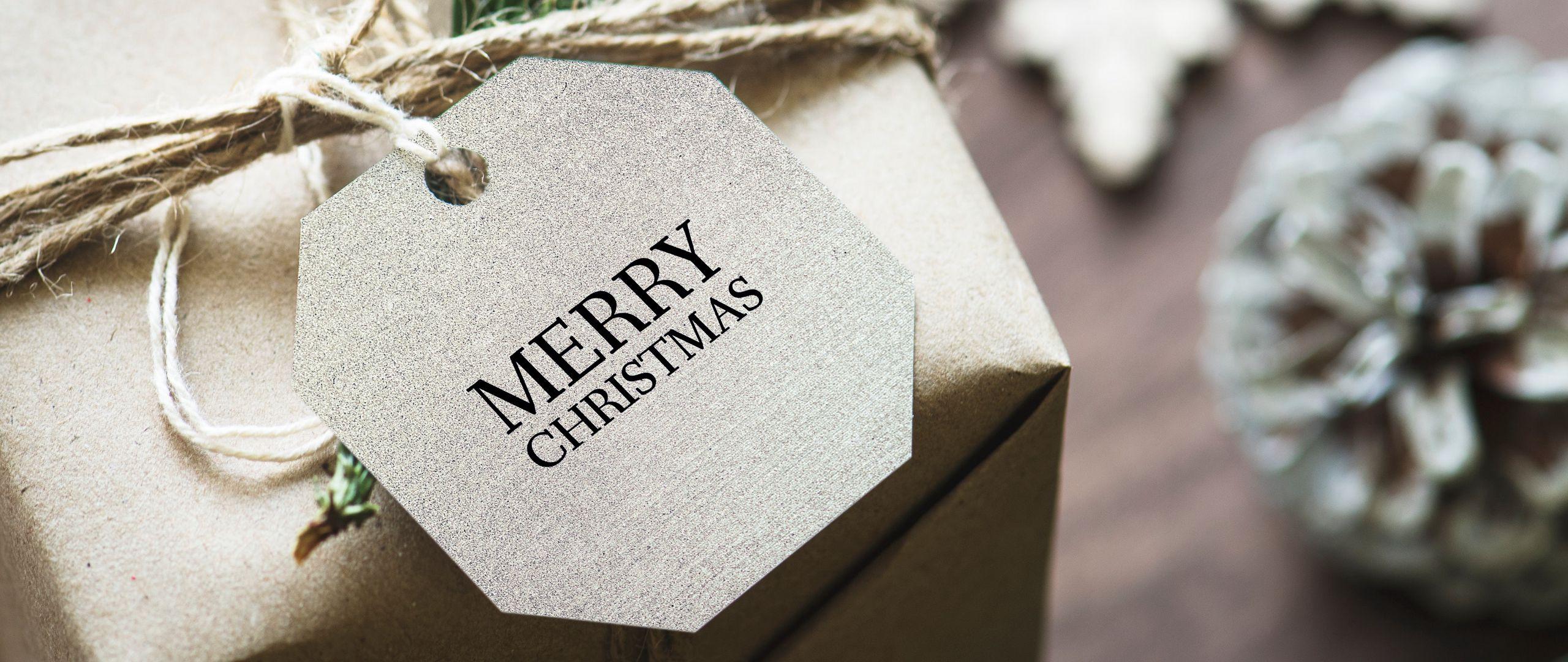2560x1080 Wallpaper gift, christmas, new year, tag, box