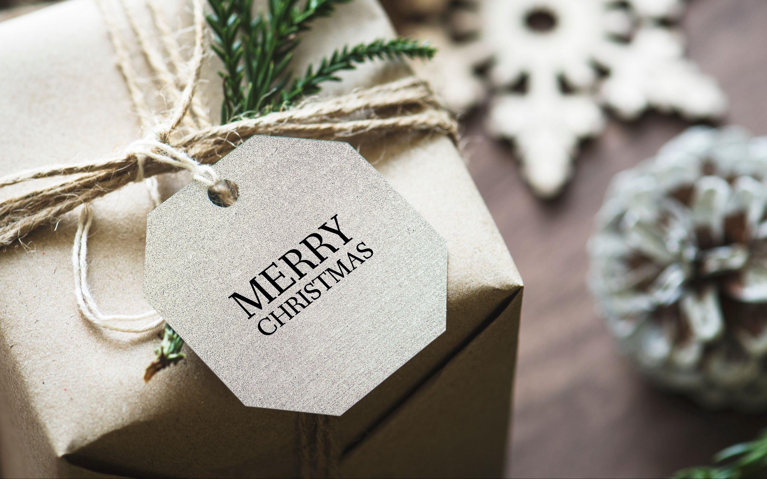 2560x1600 Wallpaper gift, christmas, new year, tag, box