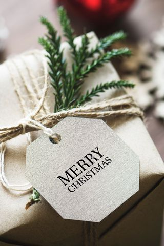 320x480 Wallpaper gift, christmas, new year, tag, box
