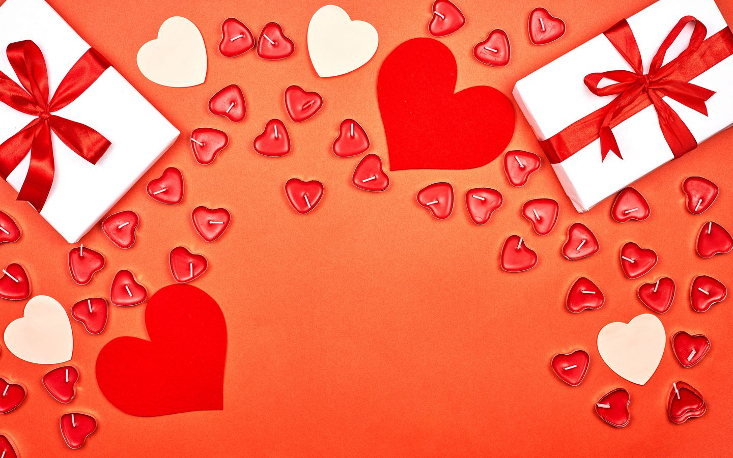 1440x900 Wallpaper gift, hearts, candles, love, romance