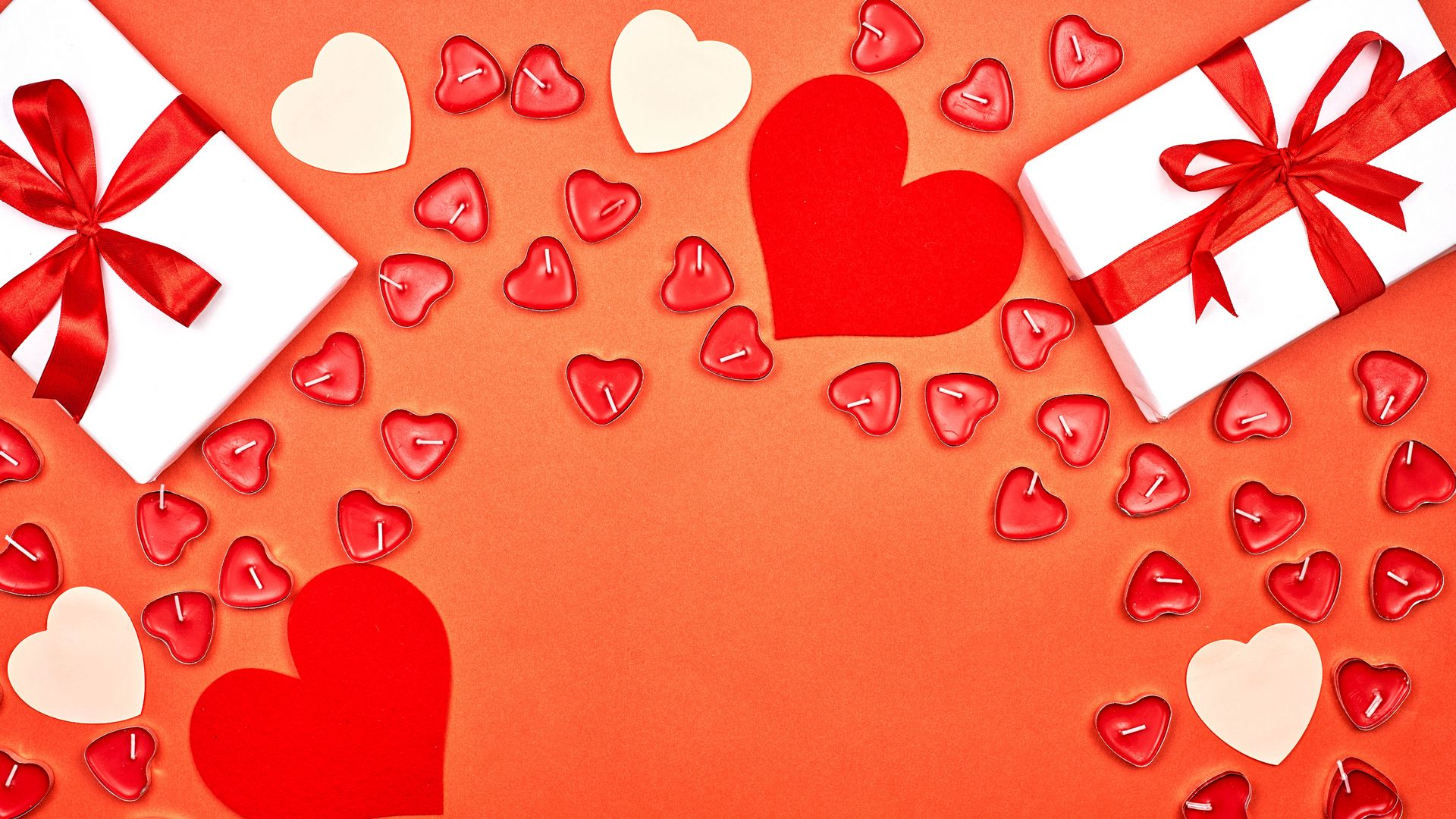 1920x1080 Wallpaper gift, hearts, candles, love, romance