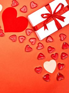 Preview wallpaper gift, hearts, candles, love, romance