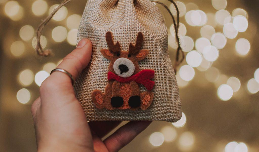 1024x600 Wallpaper gift, new year, christmas, deer, hand