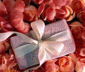 Preview wallpaper gift, petals, ribbon