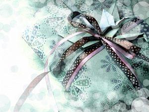 Preview wallpaper gift, ribbon, bow, box, crane, origami, paper, bokeh, vintage