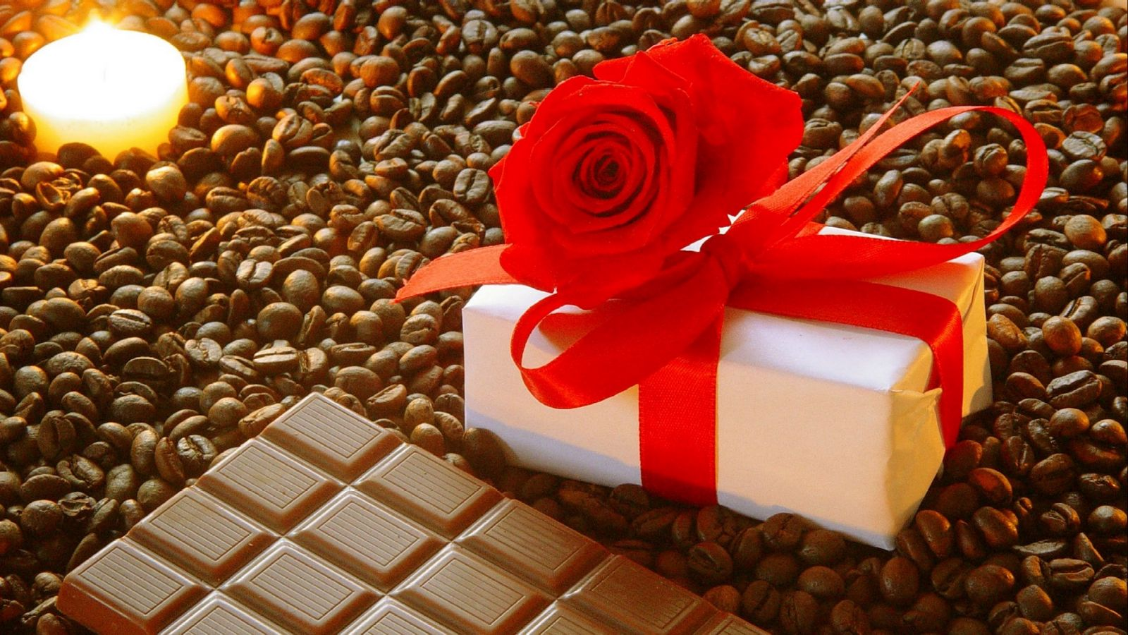 1600x900 Wallpaper gift, ribbon, rose, chocolate, coffee, corn, candle, romantic, holiday