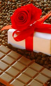 Preview wallpaper gift, ribbon, rose, chocolate, coffee, corn, candle, romantic, holiday